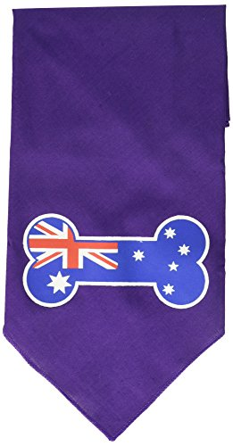 Mirage Pet Products Bone Flag Australian Screen Print Bandana for Pets, Large, Purple (Bandana Print Screen)