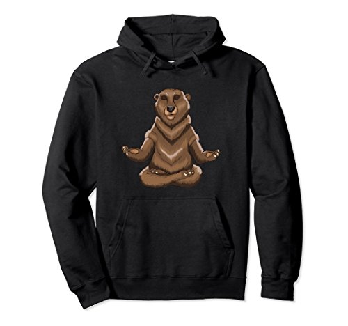 Unisex Yoga Bear Meditating Yogi Lovers Funny Animal Yoga T-Shirt XL: Black (Black Yogi Bear)