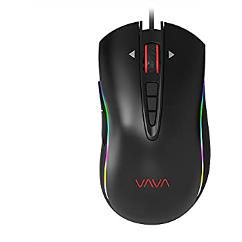 VAVA Chroma Gaming Mouse with 16.8 Million RGB Color Options, Mechanical Mouse with Ergonomic Right Handed Design (11 Chromatic Combos, 6 DPI Levels up to 4000, 10 Scroll Speeds, Woven Fiber Cable)