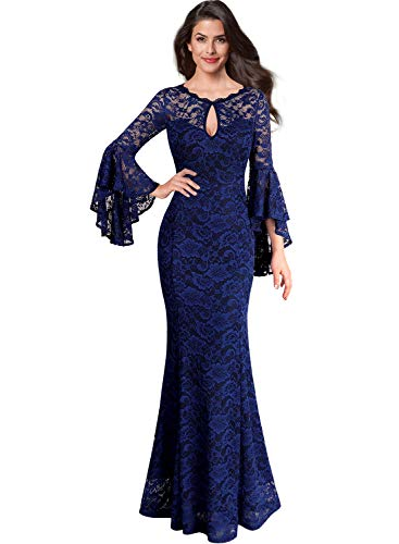 VFSHOW Womens Blue Floral Lace Keyhole Front Ruffle Bell Sleeve Formal Evening Wedding Maxi Dress BLU XXL