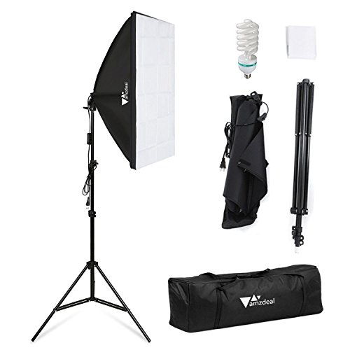 Amzdeal Softbox Lighting Kit Photography Studio Lighting Kit 20″ x 28″ Soft Box Lights for Video Photo with 85W Bulbs 79inch Stand Carry Bag
