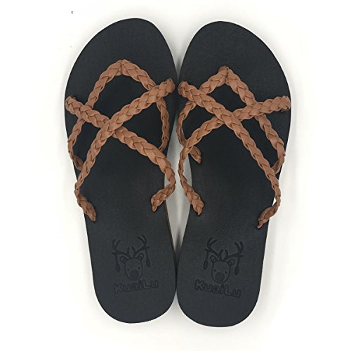 KuaiLu Yoga Mat Women's Braid Leather Flip Flops Arch Support Cross Strappy Thong Sandals Non (Flip Flops Thong Strappy Sandals)