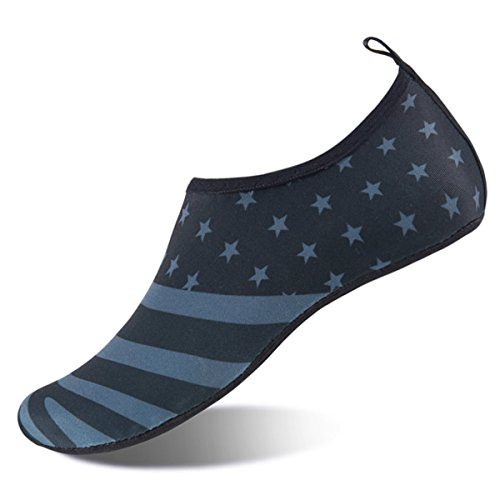 Womens and Mens Water Shoes Barefoot Quick-Dry Aqua Socks for Beach Swim Surf Yoga Exercise (American Flag, S)