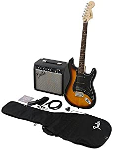 Squier by Fender Stratocaster Beginner Electric Guitar Pack with Frontman 15G Amplifier - Brown Sunburst Finish - HSS from Fender Musical Instruments Corp.