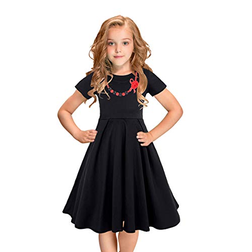 LEEGEEL Girls Vintage Dress Polka Dot Swing Rockabilly Dresses Necklace Size 6-12 Girls Dresses Size 8