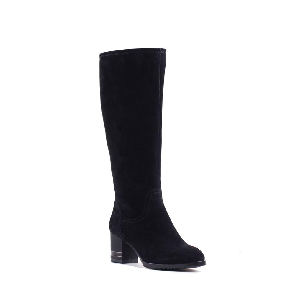 Black T-JULY Autumn Winter Knee-High Boots for Women Sheep Suede Boots Warm Wool Fur Girls Lady Snow Boots Quality shoes