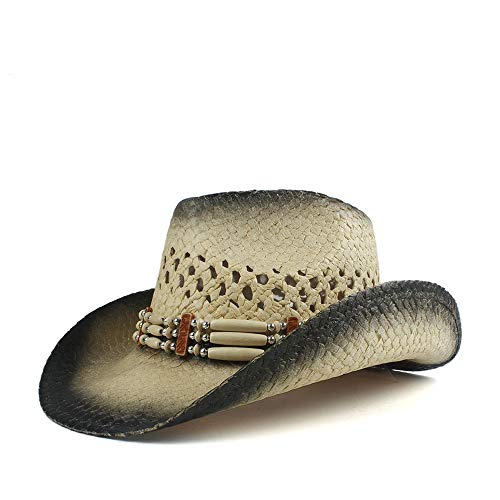YUQINN 2019 Fashion Unisex Wide Brim Straw Cowboy Hat Summer Travel Outdoor Beach UV Protecting Sun Hat Turquoise Leather Band (Color : Natural, Size : 56-58) (Kid Resistol Cowboy Hat)