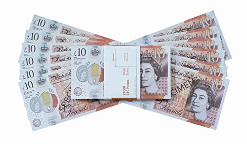 PROP MONEY REALISTIC UK POUNDS GBP BRITISH ENGLISH BANK 100 10 POUND NOTES  - Free Spare Bank Note Strap  Perfect for Movies Films Advertising Social