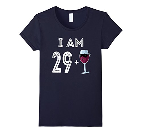 Wine Bottle And Glass Costume (Womens 30 Years Old Red Wine Glass Gift 30th Birthday Shirt Large Navy)