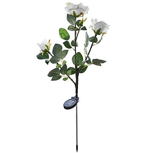 VonVonCo 3 Head White Rose Flower Solar Light LED Decorative