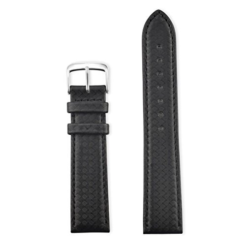 Speidel Genuine Leather Watch Band Black with Carbon Fiber Men's Replacement Strap,20mm, Stainless Steel Metal Buckle Clasp, Watchband Fits Most Watch Brand by Speidel (Image #1)