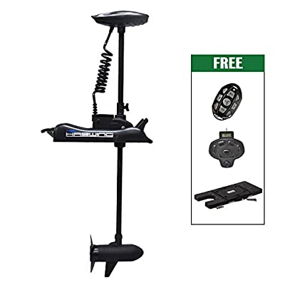 "Black Haswing Cayman 24V 80LBS 60"" Shaft Bow Mount Electric Trolling Motor Lightweight, Variable Speed, with Foot Control/Quick Release Bracket for Bass Fishing Boats Freshwater and Saltwater Use"