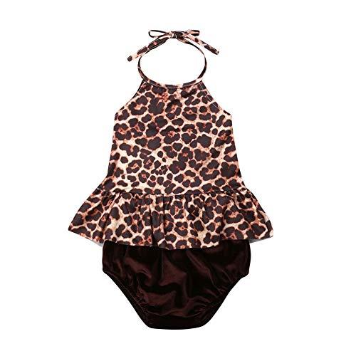 2Pcs Set Toddler Baby Girl Swimsuit Leopard Ruffle Halter Dress Top+Shorts Bottoms Swimwear Beachwear Sunsuit(6-12 Months)