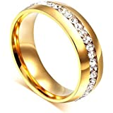 DALUCI Wedding Bands 6mm Stainless Steel Engagement Ring for Women Men