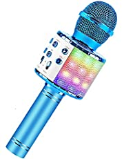 BlueFire Bluetooth 4 in 1 Karaoke Wireless Microphone with LED Lights, Portable Microphone for Kids, Girls, Boys and Adults