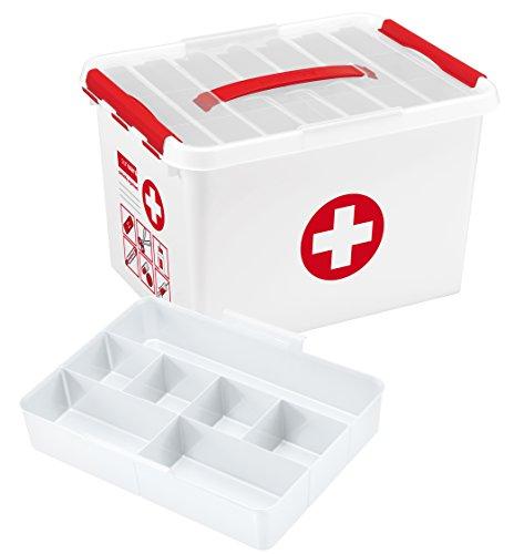 SUNWARE Q-Line Erste-Hilfe-Box + Einsatz - 22 Liter - 400 x 300 x 260mm - weiß