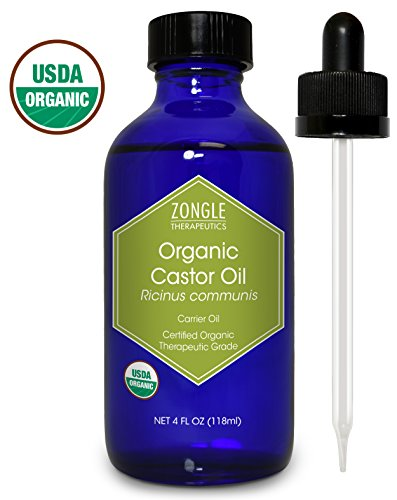 Zongle USDA Certified Organic Castor Oil, Cold Pressed, Ricinus Communis, 4 oz