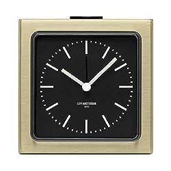 Leff Amsterdam Analog Alarm Clock Block Brass Black Bedroom Home Decor