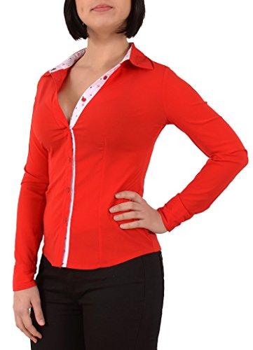 Femme manchues Blouse Longues avec B301 Casual by Femmes Motifs des Classique tex Rouge lgant Chemisier AqS845