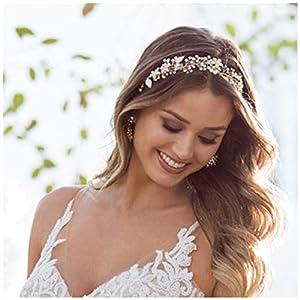 SWEETV Gold Wedding Headband Bohemian Headpiece for Bridal Hair Pieces Crystal Pearl Hair Vine Flower Halo Wedding Hair…