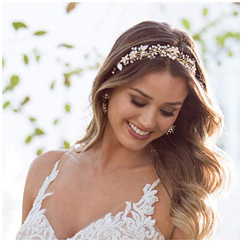 SWEETV Gold Bridal Headband Bohemian Headpiece Crystal Pearl Hair Vine Flower Halo Wedding Hair Accessories ()