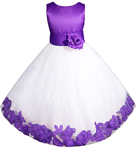 AMJ Dresses Inc Big Girls' Purple Flower Girl Pageant Dress E1008 Sz 10