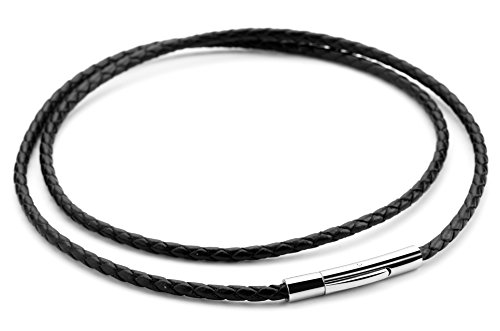 Hamoery Women Men 3mm Black Braided Rope Stainless Steel Clasp Leather Cord Chain Necklace 14-30 Inch