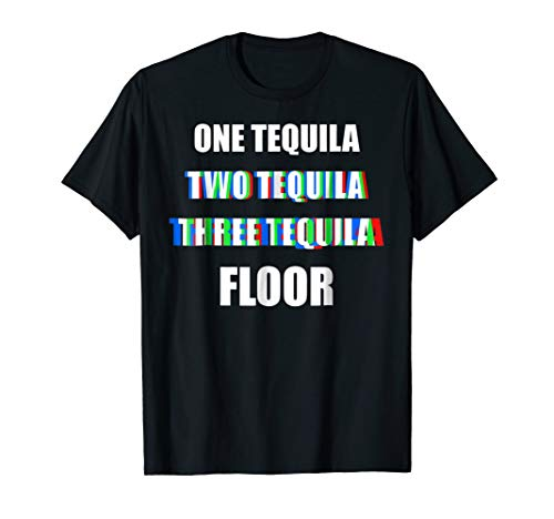 - Mens Funny Alcohol Shirt - Tequila Anaglyph Style Dizzy Drunk Tee Large Black