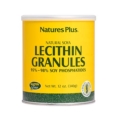 - NaturesPlus Lecithin Granules - 95% Soy Phosphatides, 12 oz - Lecithin Powder Supplement, Pleasant-Tasting, Oil-Free - Vegetarian, Gluten-Free - 45 Servings