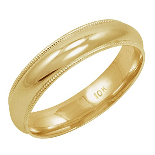 Men's 10K Yellow Gold 5mm Comfort Fit Milgrain Wedding Band (Available Ring Sizes 8-12 1/2) Size 11 ()