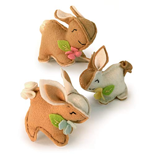 Heidi Boyd | Bunnies Whimsy Kit | Sweet Mama Bunny and Two Babies are Hopping with Joy | Make Some Happy Bunny Fun with This All Inclusive Felt Craft Sewing Kit | Age 13+