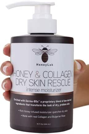 HoneyLab Dry Skin Rescue Cream for Face and Body. 15 FL Oz. Anti-aging Cream with Collagen and Honey and Bulgarian Rose for Wrinkles, Dry Skin, Sagging Skin. (15oz)
