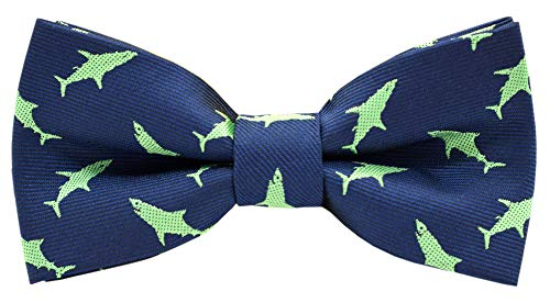 Carahere Boy's Handmade Pre-Tied Patterned Bow Ties (One Size, Shark pattern)