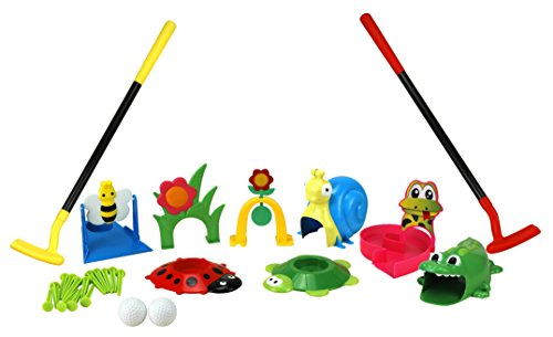 (Party Hurray Children Golf Set, w/Golf Clubs, Practice Holes, Floral/Animal Obstacles, Golf Balls)