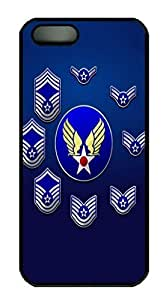 Covers United States Air Force Enlisted Stripes HAC1014486 Custom PC Hard Case Cover for iPhone 5/5S Black
