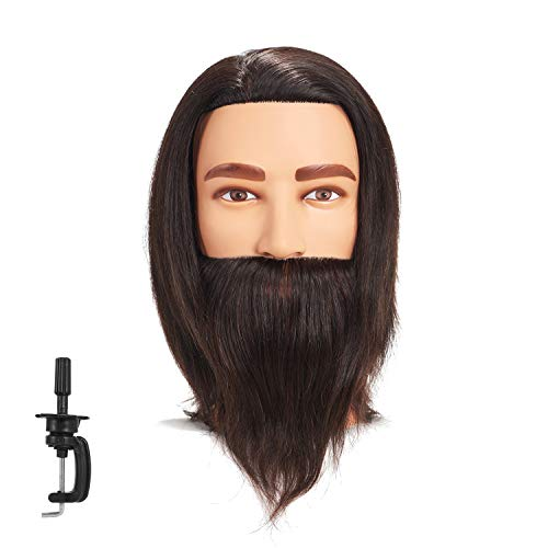 Traininghead 8-10 Male Mannequin Head 100% Human Hair Hairdresser Training Practice Head Manikin Cosmetology Doll Head With Clamp (Black)