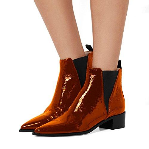 Fsj Mujeres Chic Tobillo Cerrado Impermeable Chelsea Botines Chunky Tacones Bajos Zapatos Cómodos Tamaño 4-15 Us Brown