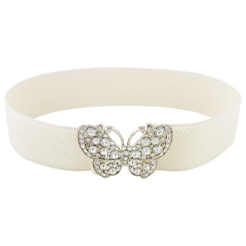 Butterfly Elastic Belt (Allegra K Women Rhinestones Accent Butterfly Hook Buckle Elastic Cinch Waist Belt)