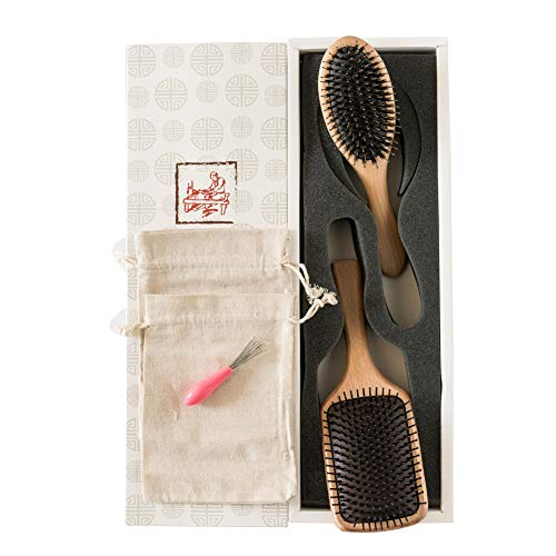 2-Piece Hairbrush-Natural Boar Bristle Hair Brush and Wooden Paddle Detangling Cushion Hairbrush-suitable Women Men Kids Girls- Good for Thick Dry Damaged Curly Wavy Long Short Frizzy Fine Oily Hair