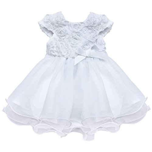 CHICTRY Baby Girls 3D Rose Flower Baptism Christening Party Princess Dress White 18-24 Months