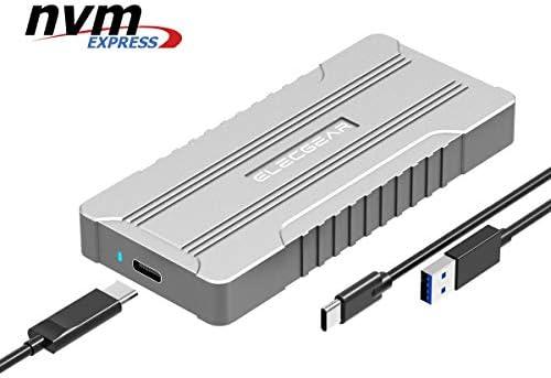 ElecGear NVMe M.2 SSD Gehäuse, USB 3.1 Gen2 Externes NVMe PCI-e Festplattengehäuse, NV-M01 Aluminiumgehäuse Kühler Case, 2280, 2242 NVMe PCIe M2 HDD Enclosure Adapter, 10Gbps USB Typ A und C Kabel