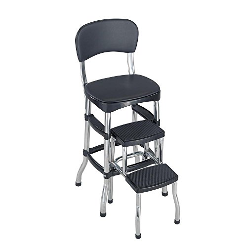 Cosco Aluminum Retro Step Stool 2-Step 3 ft. with 225 lb. Load Capacity in Black 11120CBB1E