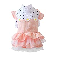 PanDaDa Cotton Pet Clothes for Dog Girls Shirts Cat Girls T-Shirts, Pet Spring Summer Clothes for Small Medium Dog Flowers Pleated Skirt Apparel Pink B XL