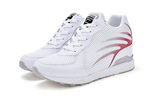 Scarpe Ginnastica Sportive 8 Traspiranti Tqgold Basse Interna E Da Zeppa Donna Cm Bianco Comode Fitness Sneakers YxqHwaRI