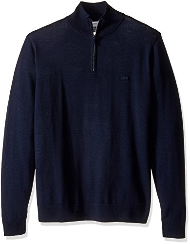 Lacoste Men's 100% Lambswool 1/4 Zip Sweater with Tonal Croc, AH2989-51, Navy Blue, Large ()