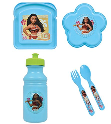 Disney Moana Princess 2 Piece Flatware, 1 Water Bottle (17 oz Pull-top), 1 Sandwich Box, 1 Snack Container - All Are BPA Free and Non-toxic - 5 Total Items Disney Gift Set for Girls