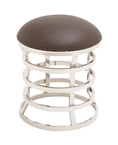 Benzara The Must Have Stainless Steel Real Leather Ottoman, 18.9 by 18.9 by 18.9-Inch, Off-White by Benzara