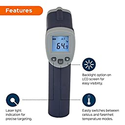 MeasuPro Laser Infared Digital Instant Read Thermometer, Blue and Grey