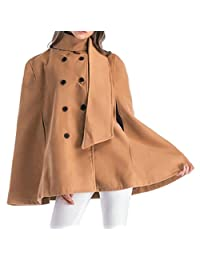 Domple Women Stand Collar Cape Outwear Plus Size Double-breasted Trench Coats