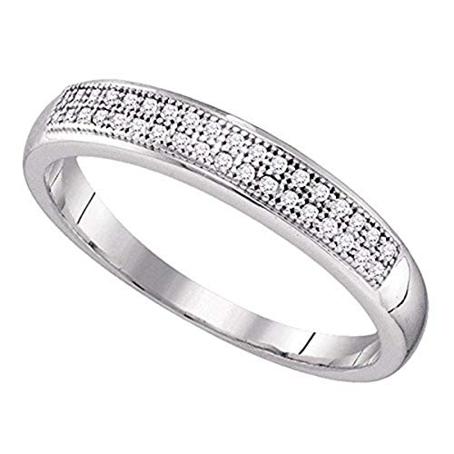 Roy Rose Jewelry 10K White Gold Round Pave-set Diamond Womens Bridal Wedding Anniversary Band 1/10-Carat tw